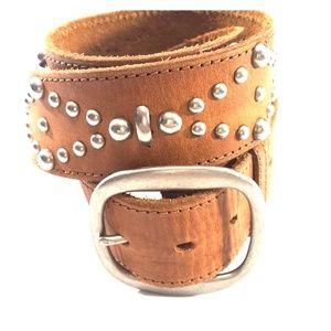 Hollister Tan Studded Leather Belt 34 - 36